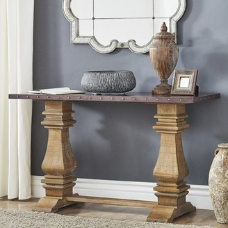 Weston Home Pilgrim Zinc and Wood Console Table