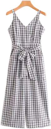 Goodnight Macaroon 'Jessi' Gingham Belted Jumpsuit