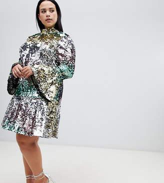 Asos DESIGN Curve premium rainbow mini sequin skater dress