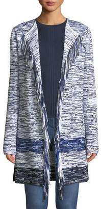 St. John Multi-Tweed Fringe Waterfall Cardigan