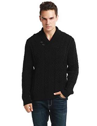 Lynz Pure Men's Sweater Shawl Collar Cable Knit Pullover Knitwear L