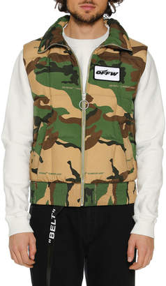 Off-White Off White Men's Camouflage Zip-Front Quilted Vest
