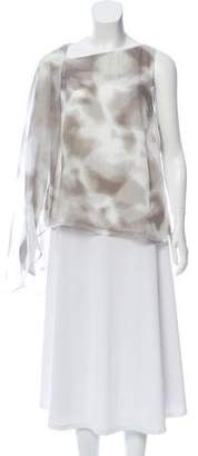 Halston Abstract Print One-Sleeve Top