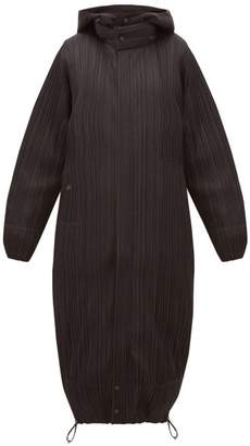 Pleats Please Issey Miyake Reversible Hooded Plisse Coat - Womens - Black