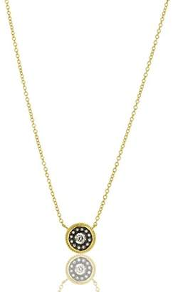 Freida Rothman Women's 14ct Gold Plated Sterling Silver Nautical Button Pendant Necklace of Length 40.64-45.72cm