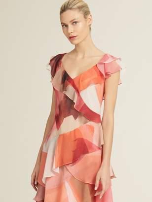 DKNY Printed Tiered Midi Dress