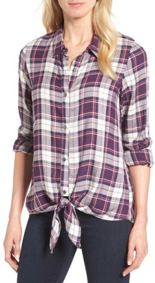 Women's Bobeau Tie Front Plaid Shirt $59 thestylecure.com