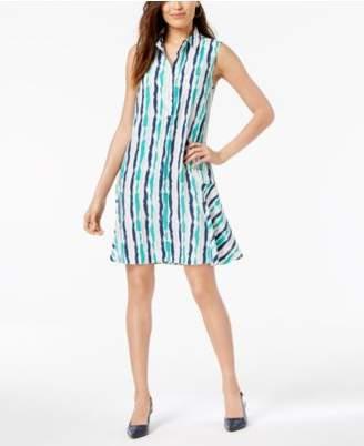 Alfani Striped Sleeveless Shirtdress, Created for Macy's