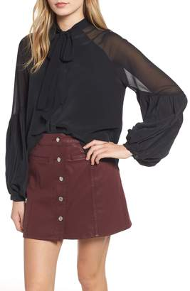 7 For All Mankind Bow Tie Blouson Silk Top