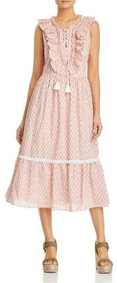 Kate Spade Arrow Stripe Ruffled Midi Dress