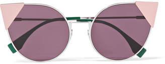 Fendi Embellished Cat-eye Acetate Sunglasses - Pink