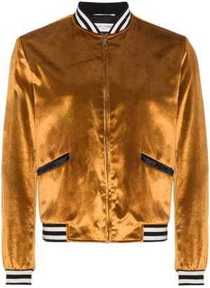 Saint Laurent Velvet Ribbed Bomber Jacket