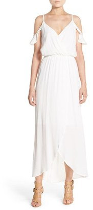 Women's Fraiche By J Cold Shoulder Wrap Front Maxi Dress $113 thestylecure.com