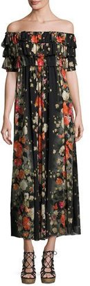 Fuzzi Floral Off-the-Shoulder Ruffled Maxi Dress, Black $595 thestylecure.com