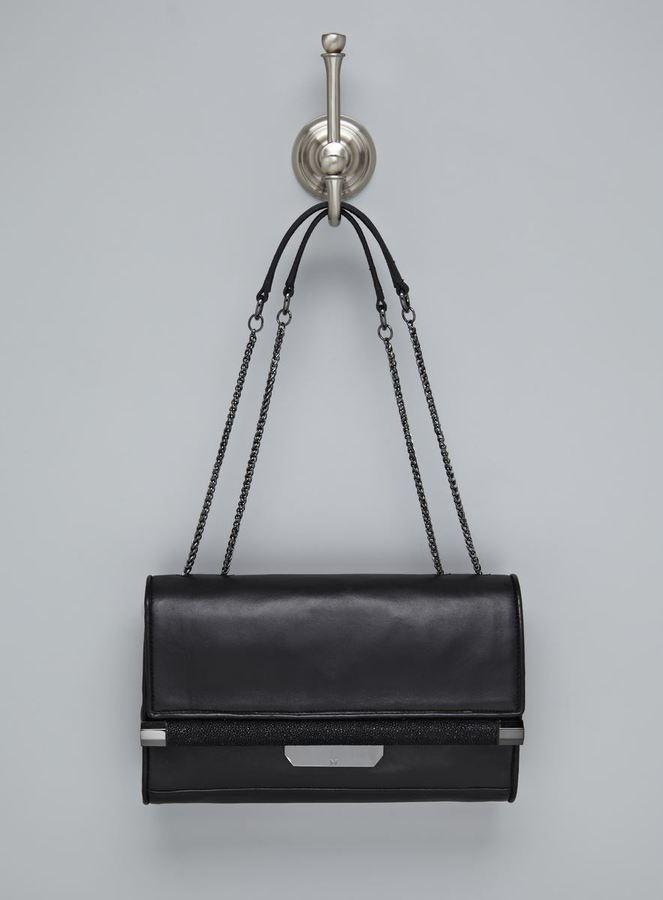 Halston Black Leather Flap Shoulder Bag