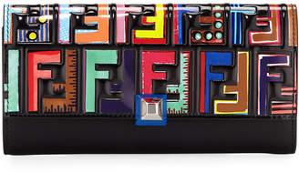 Fendi Calf Leather Continental Flap Wallet with Colorful Logo