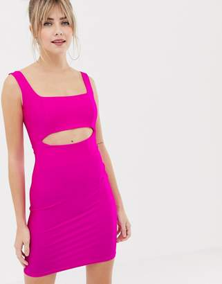 New Look cut out dress in neon pink