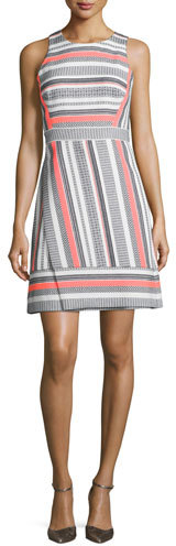 Kate Spade Kate Spade New York Sleeveless Jewel-Neck Striped Dress, Surprise Coral