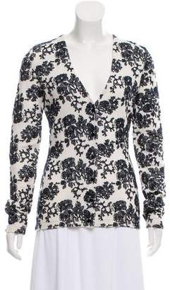 Oscar de la Renta Embroidered Knit Cardigan