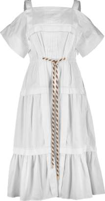 Peter Pilotto Cotton Cold Shoulder Pleated Dress