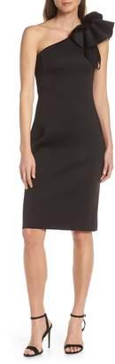 Eliza J One-Shoulder Ruffle Sheath Cocktail Dress
