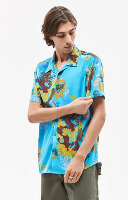 Guess Dragon Blossom Short Sleeve Button Up Camp Shirt