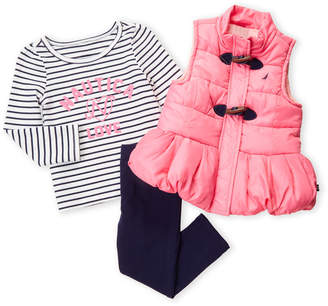 Nautica Toddler Girls) 3-Piece Pink Puffer Vest & Stripe Leggings Set