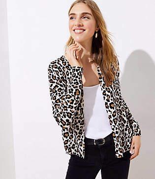 LOFT Leopard Print Signature Cardigan