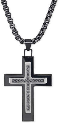 Black Diamond Esquire Men's Jewelry 1/4 ct. t.w.) Cross Necklace in Black Ip over Stainless Steel