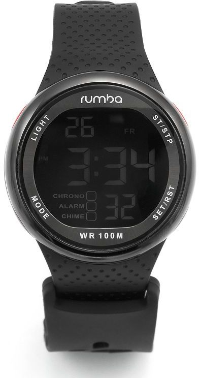 RumbaTime park go silver tone black silicone digital chronograph watch - men