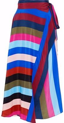 Diane von Furstenberg Striped Silk-Satin Midi Wrap Skirt