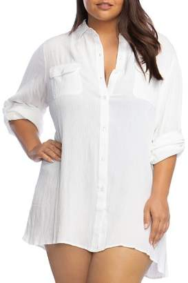Ralph Lauren Plus Crinkle Camp Shirt Swim Cover-Up