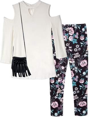 Amy Byer Iz Girls 7-16 & Plus Size IZ Cold Shoulder Keyhole Top & Patterned Leggings Set with Fringe Crossbody Purse