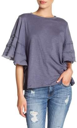 Susina Mixed Media Short Sleeve Blouse (Regular & Petite)