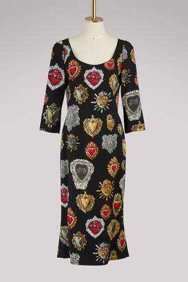 Dolce & Gabbana Hearts print midi dress