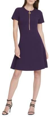 DKNY Short Sleeve Zipper Fit--Flare Dress