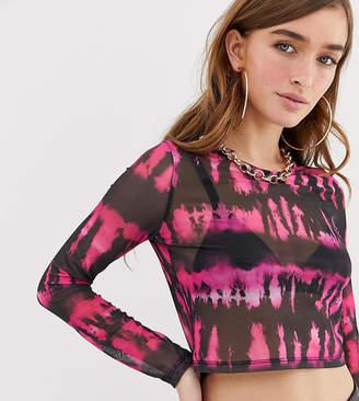 c97f949ae1cc98 Asos DESIGN Petite long sleeve mesh top in neon tie dye