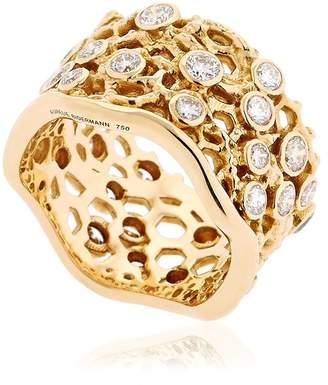Aurelie Bidermann Dentelle Gold Ring With Diamonds