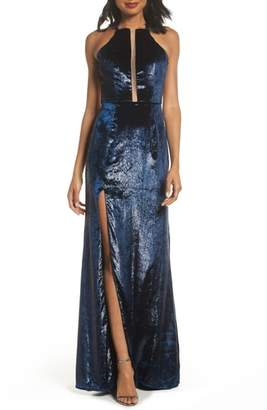 La Femme Open Back Textured Velvet Gown