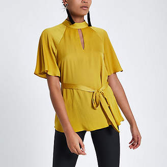 River Island Womens Yellow short sleeve tie front blouse