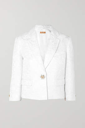 Michael Kors Cropped Embellished Cotton-blend Cloque Blazer