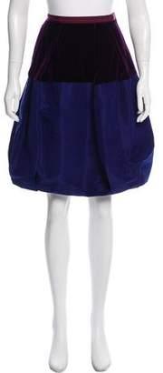 Oscar de la Renta Velvet-Paneled Pleated Skirt