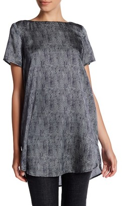 Eileen Fisher Geo Print Boatneck Silk Blend Blouse (Petite) $158 thestylecure.com