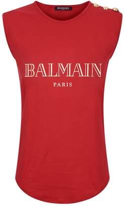 Balmain Metallic Logo Sleeveless T-Shirt