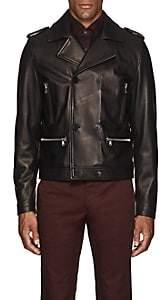 Eidos Men's Leather Biker Jacket-Black