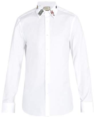 Gucci Embroidered Cotton Shirt - Mens - White