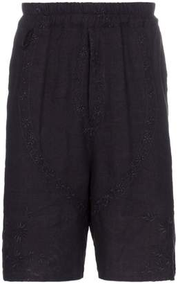 By Walid lorenzo 1920s embroidered linen shorts