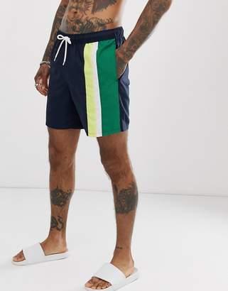 Design DESIGN swim short with stripe cut and sew panels mid length