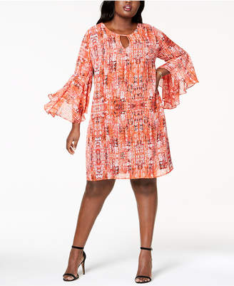 NY Collection Plus Size Flared-Sleeve Shift Dress