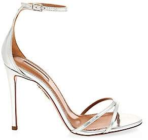 Aquazzura Women's Purist Metallic Leather Ankle-Strap Sandals